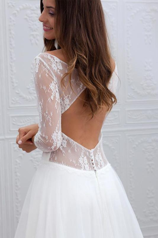 Simple A-Line Wedding Dresses with Sleeves