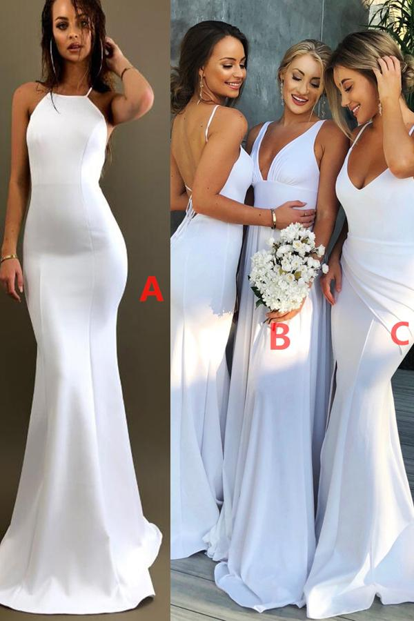 Sexy White Long Bridesmaid Dresses