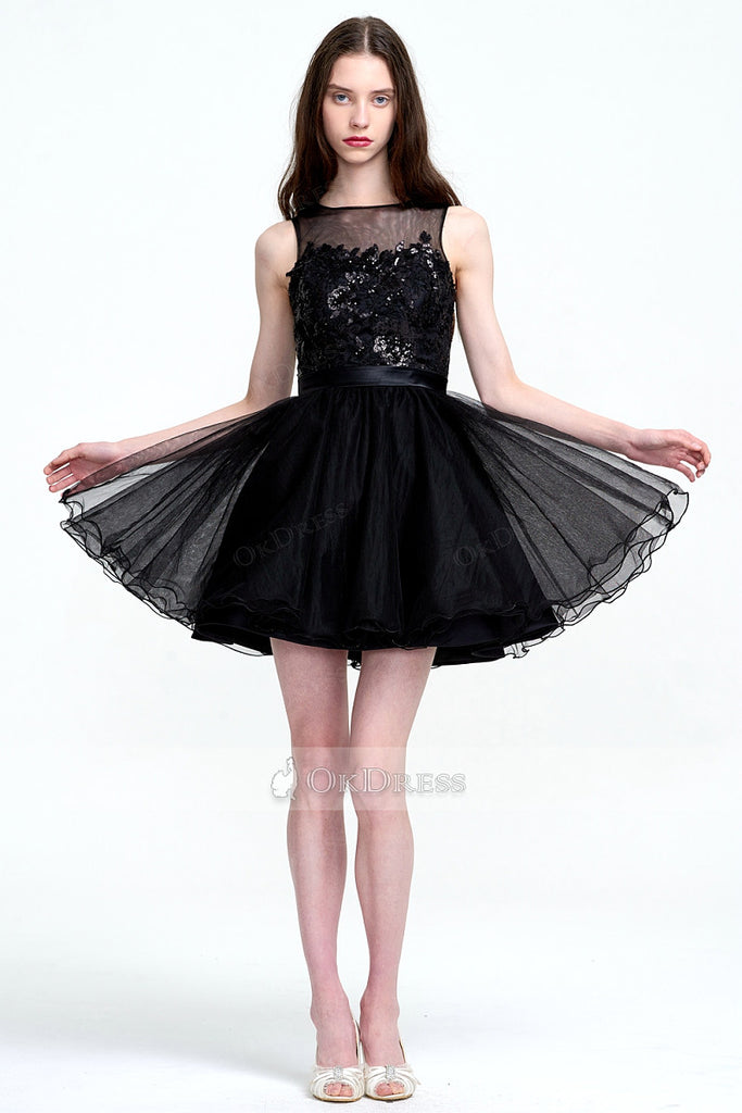Illusion with Lace Embroidered Top Tulle Short Prom Dress