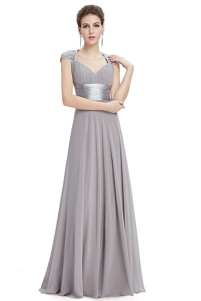 OKdress Chiffon Long Silver Formal Prom Dress