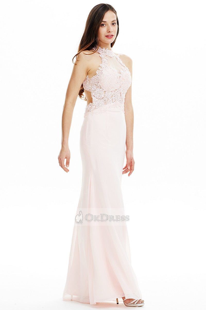 A-line/Princess Long Pink Prom Dress with Lace Beaded Top
