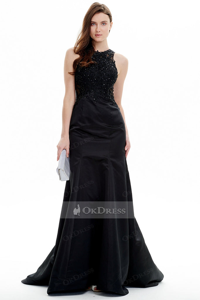 Brilliant Jewel Long Satin Black Mermaid Beading Evening Dresses
