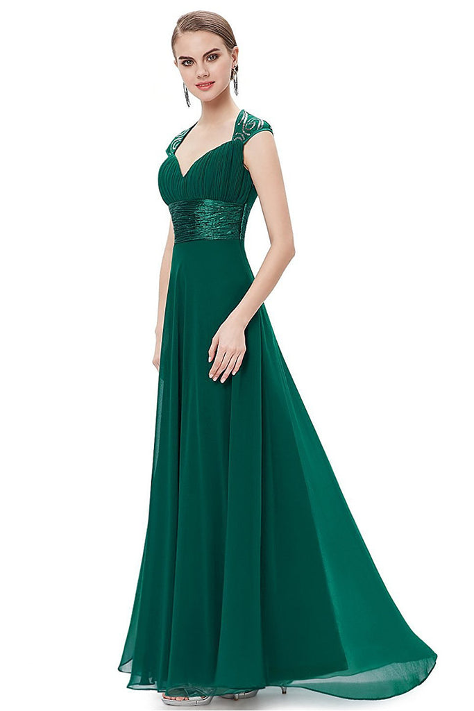 OKdress Chiffon Long Dark Green Formal Prom Dress