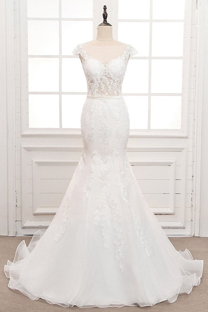 Tulle & Organza Bateau Mermaid Wedding Dresses with Lace Appliques & Belt