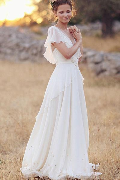 Simple A-Line Chiffon Wedding Dresses