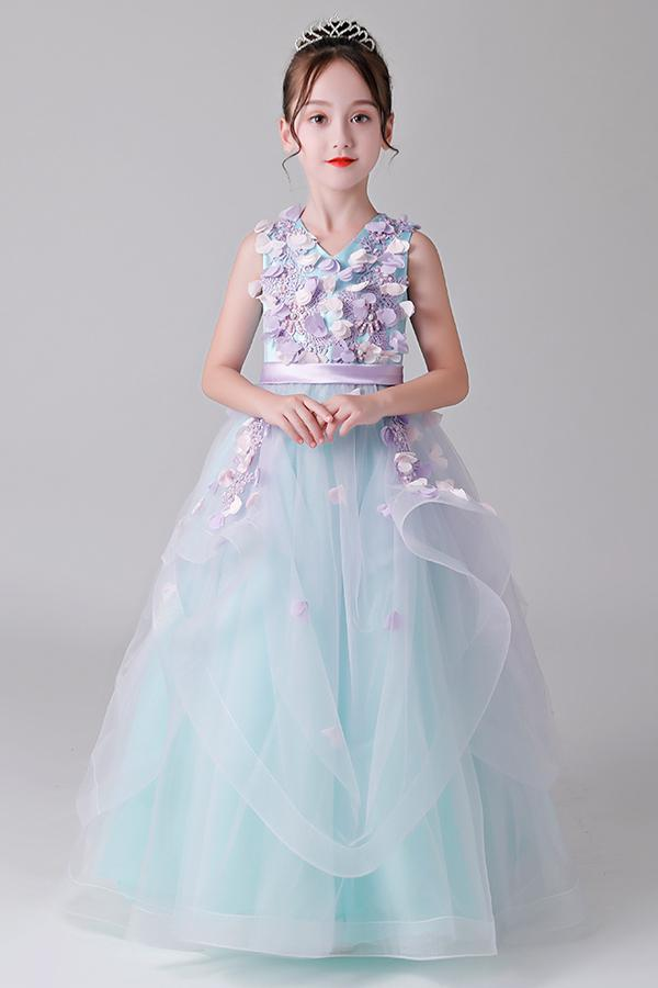 Floor-Length Flower Girl Dresses with Beads
