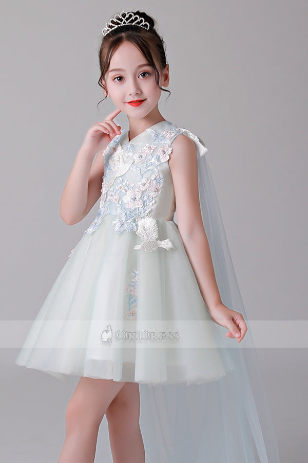 V-Neck Short Flower Girl Dresses
