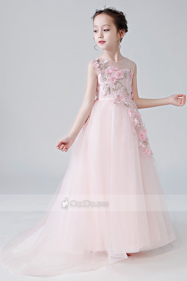 Princess Sleeveless Flower Girl Dresses with Handmade Flowers