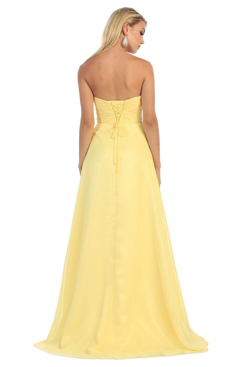 OKDRESS Strapless A-line Sweetheart Long Chiffon Lace-up Yellow Bridesmaids Dresses