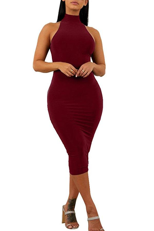 Sexy High Neck Sleeveless Cocktail Dress