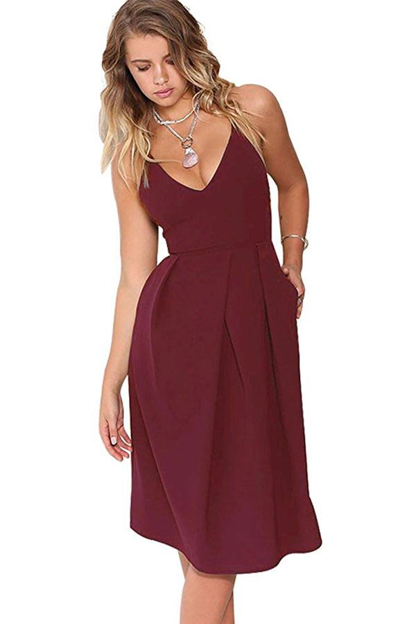 V-Neck Spaghetti Straps Wedding Guest Dress with Pocket