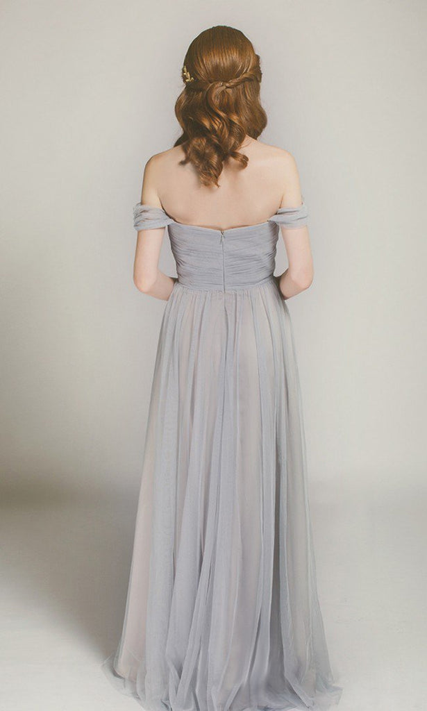 Off the Shoulder Simple Grey Bridesmaid Dresses