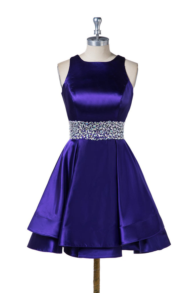 Short Satin Beading Homecoming Dresses