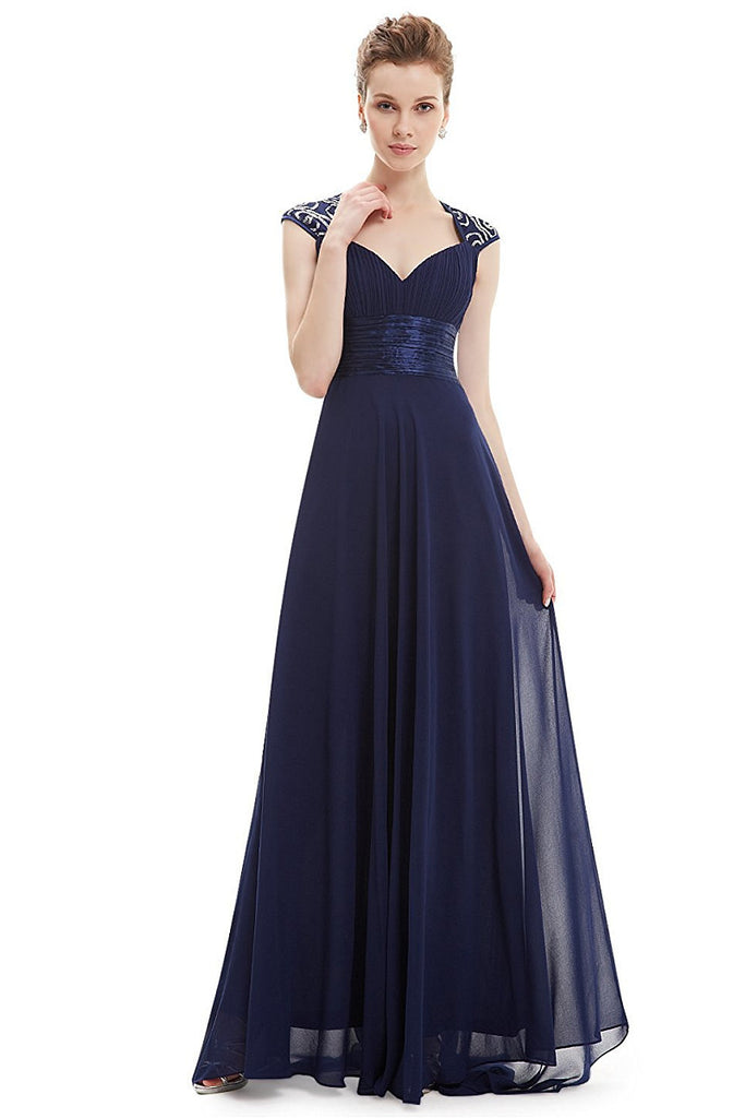 OKdress Chiffon Long Dark Navy Formal Prom Dress