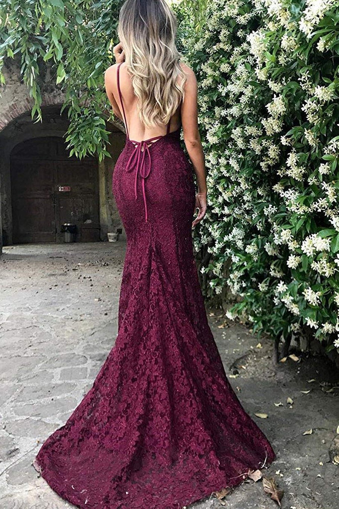 V-Neck Lace Evening Party Gown Backless Long Mermaid Prom Dresses
