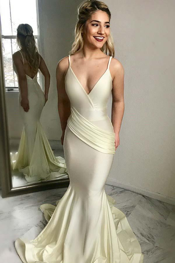 Elegant Mermaid Deep V-Neck Prom Dresses