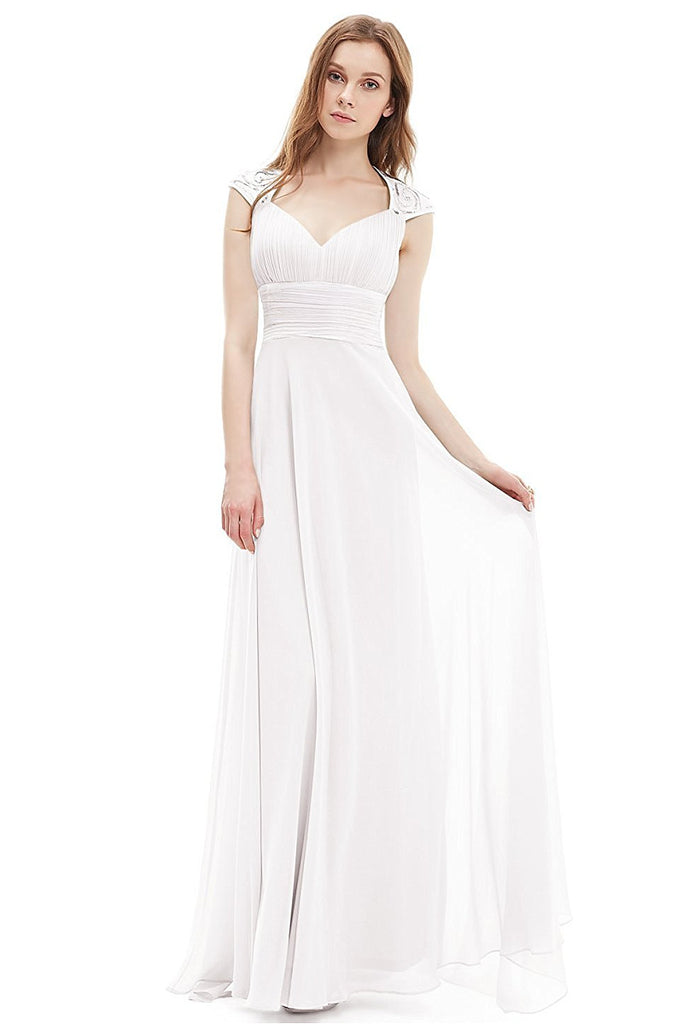 OKdress Chiffon Long White Formal Prom Dress