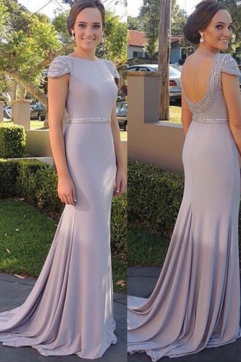 Silver Floor-length Natural Chiffon Cap Sleeves Silver Prom Dresses