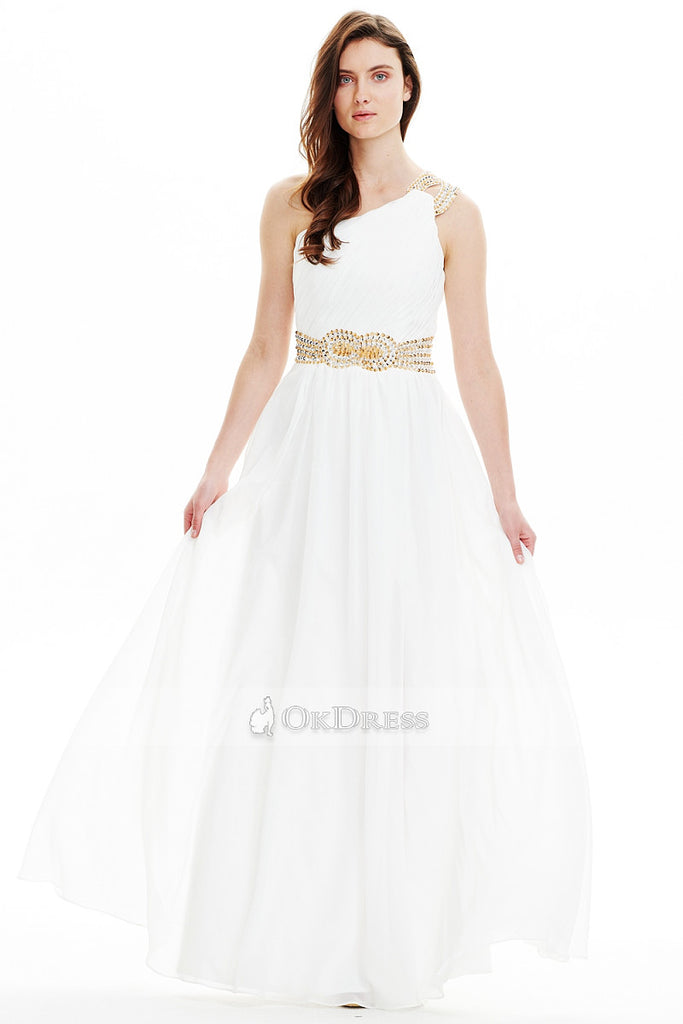 White Brilliant Chiffon A-line One-shoulder Floor-length Prom Dresses