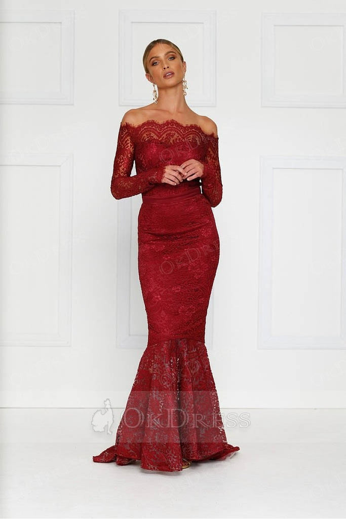 Burgundy Off-the-shoulder Long Sleeves Trumpet/Mermaid Evening Gowns