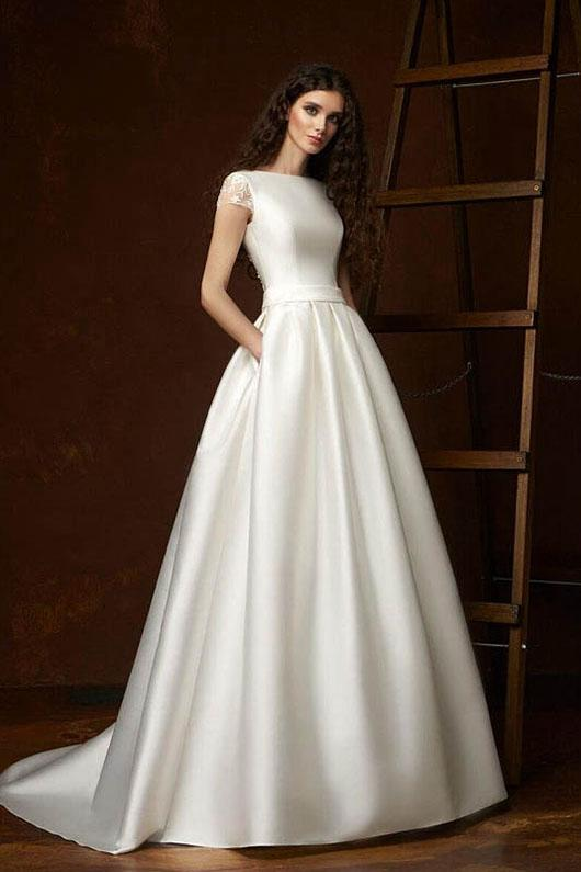 Modern Short Sleeves Boat Neck Satin Ball Gown Wedding Dresses