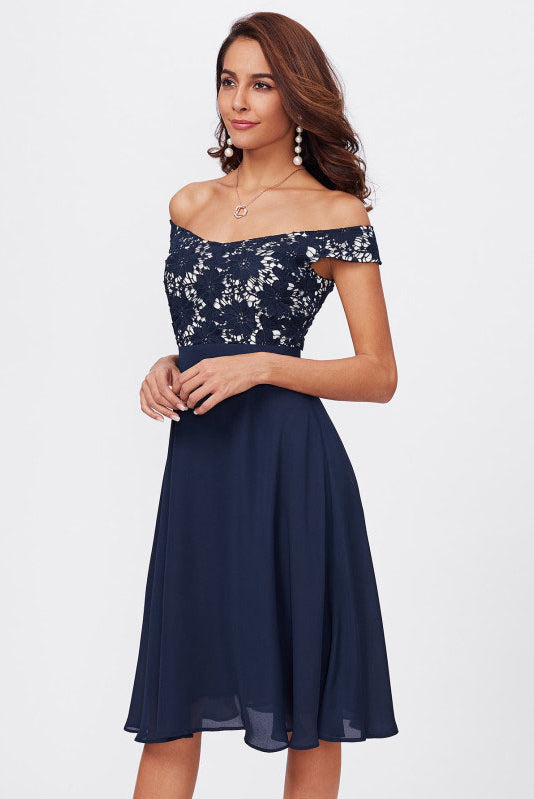 Off-the-Shoulder Lace Bodice Empire Chiffon Short Prom Dresses