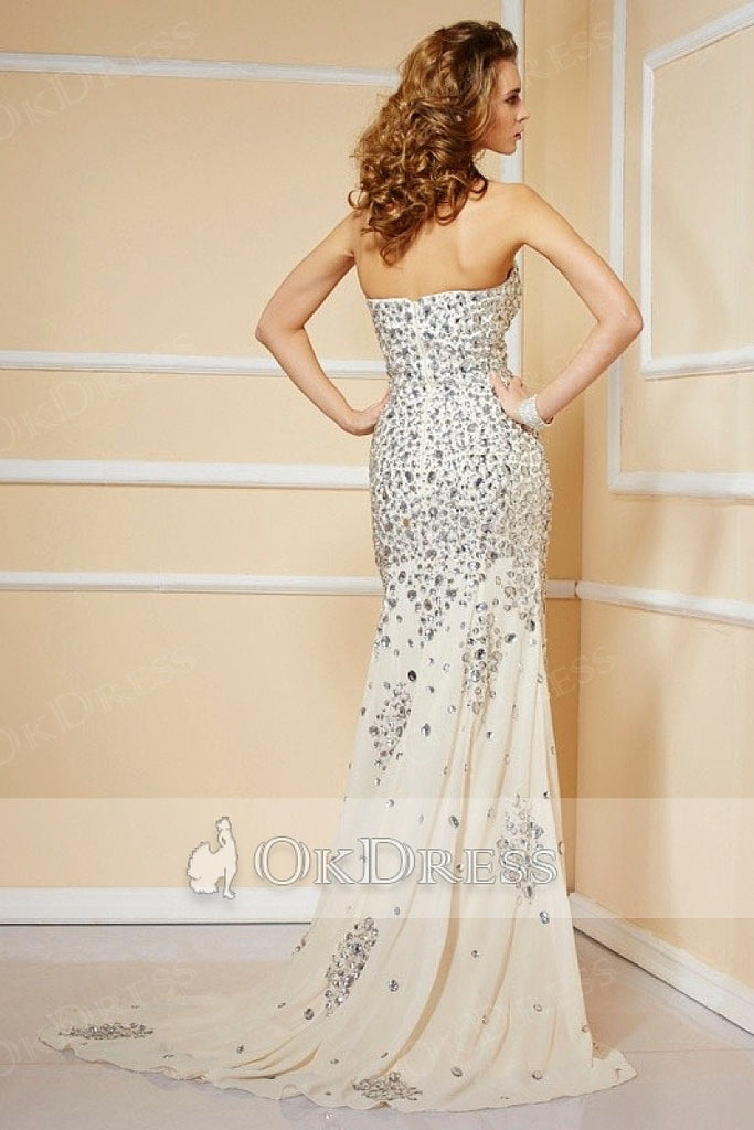Trumpet/Mermaid Strapless Sweetheart Beading Split Long Chiffon Formal Prom Dresses