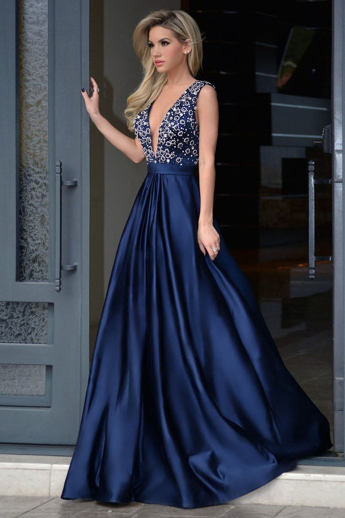 Dark Navy Sexy A-line Deep V-neck Sleeveless Beading Long Prom Dresses