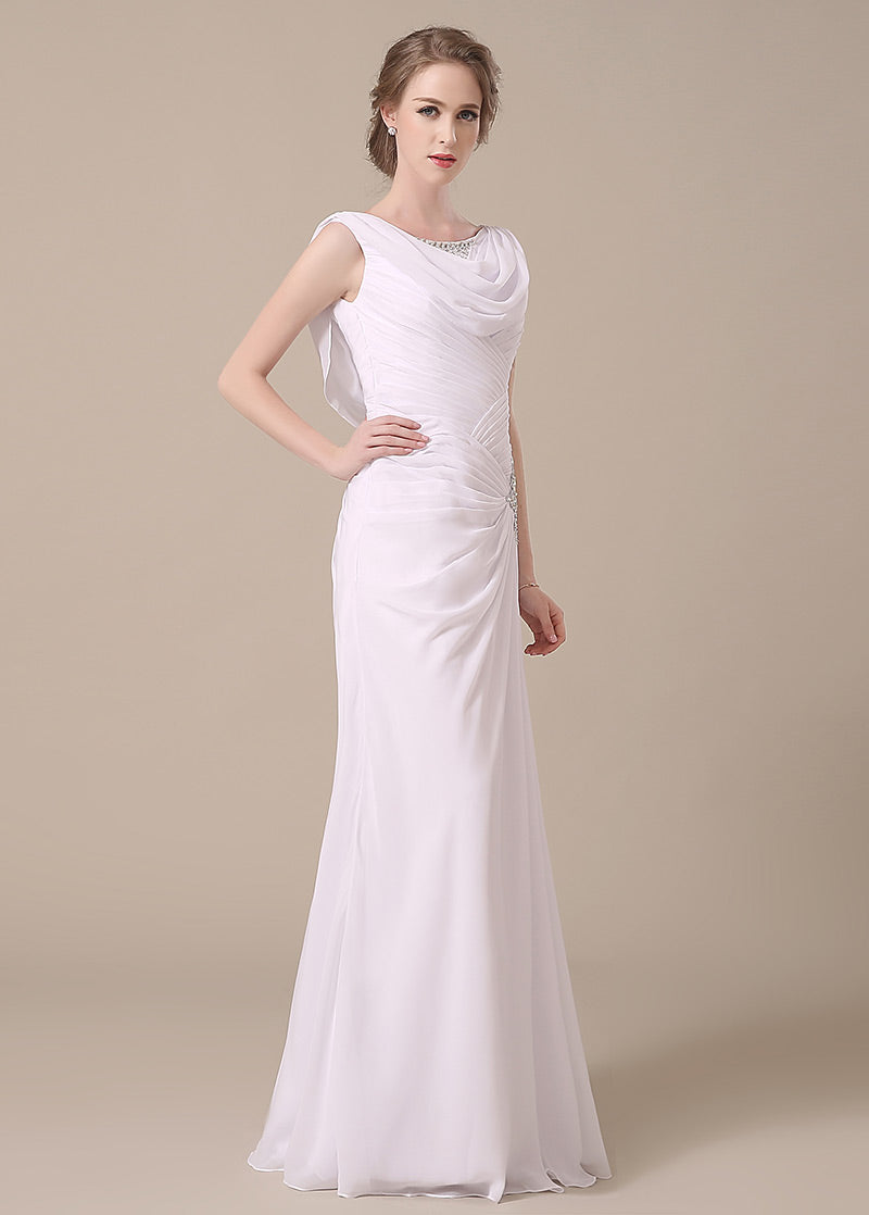 White Natural Buttons Cowl Sleeveless Trumpet/Mermaid Mother of the Bride Dresses