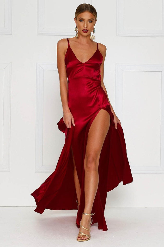 Red Sexy Long Satin Prom Dress with Two Flirty Side Thigh-High Splits