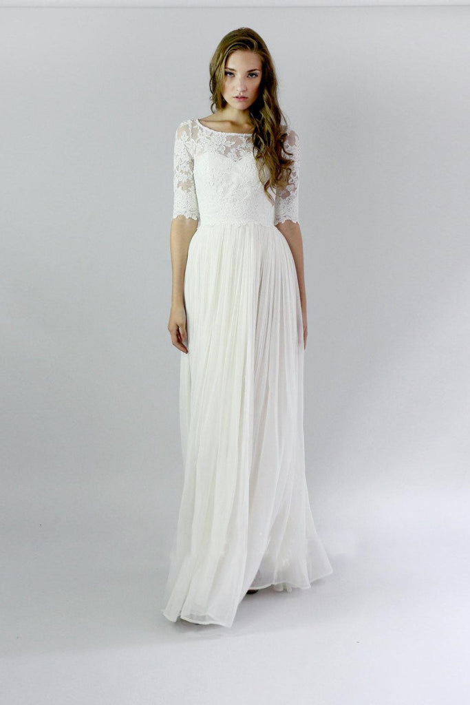 White Breathtaking A-line 1/2 Sleeves Covered Button Floor-length Wedding Dresses