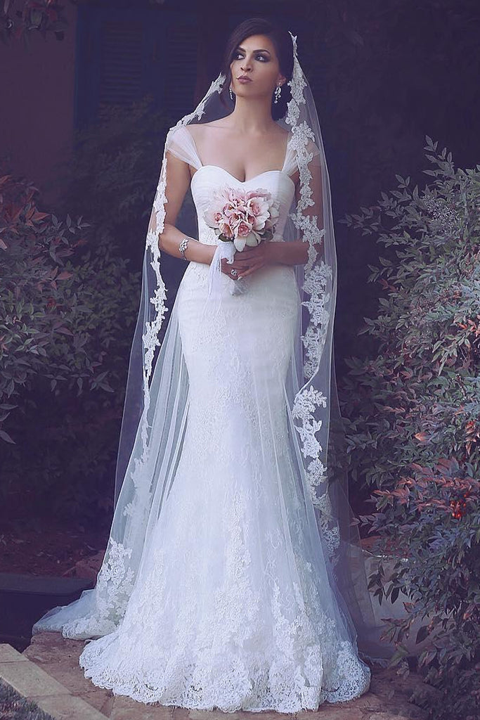 Faddish Floor-length Lace Wedding Dresses