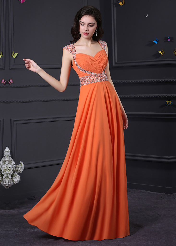 Honorable Queen Anne A-Line Sleeveless Long Prom Dresses Beadings
