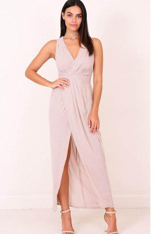 V-neck Tea-Length Split Maxi Dresses