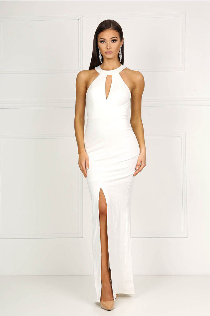 White High Neck Collar Keyhole Centre Front Slit Prom Dress