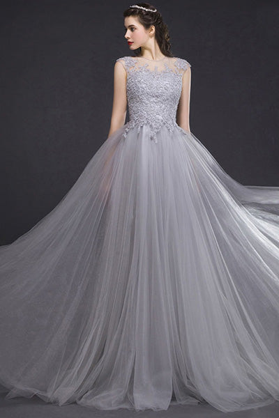 Silver A-line Sleeveless Lace Applique Long Tulle Prom Dresses