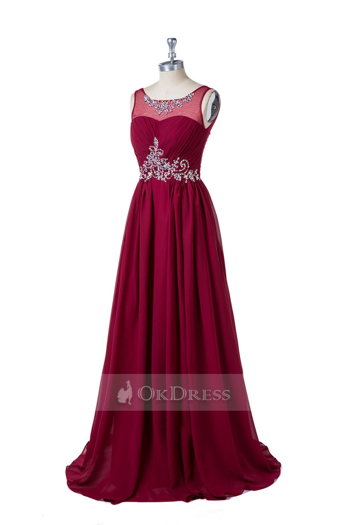 Beading Sleeveless Scoop Neck Formal Dresses