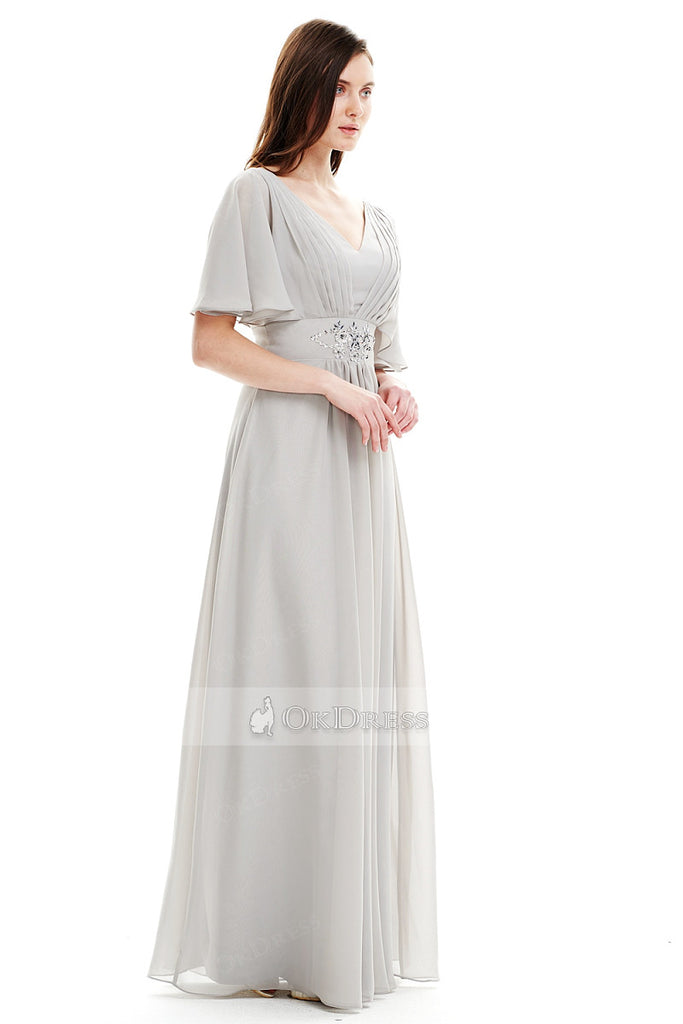 Glamorous Chiffon Empire A-line Floor-length Evening Dresses