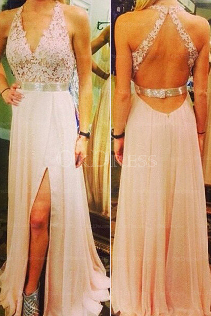 Pink Perfect A-line/Princess Appliqued Zipper Prom Dresses