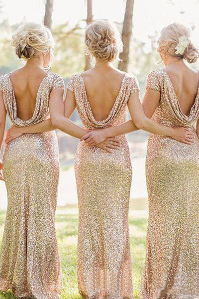 Champagne Sheath/Column Cap Sleeves Sequined Zipper Up at Side Long Bridesmaid Dresses