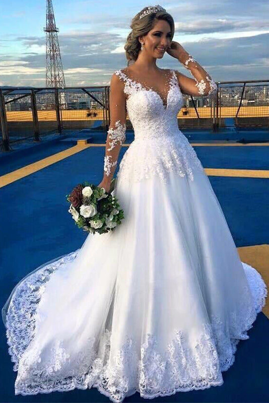 Incomparable Long Sleeves Sweep/Brush Train Natural Wedding Dresses