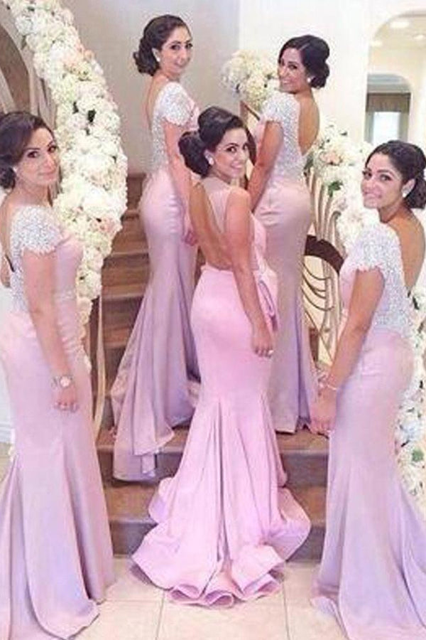 Awesome Appliqued Short Sleeve Court Train Natural Bridesmaid Dresses