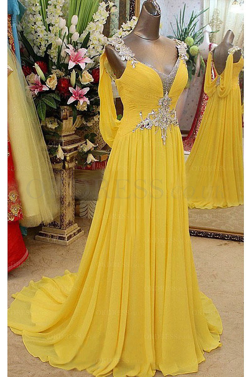 Yellow Romantic V-neck Floor-length A-line Chiffon Evening Dresses