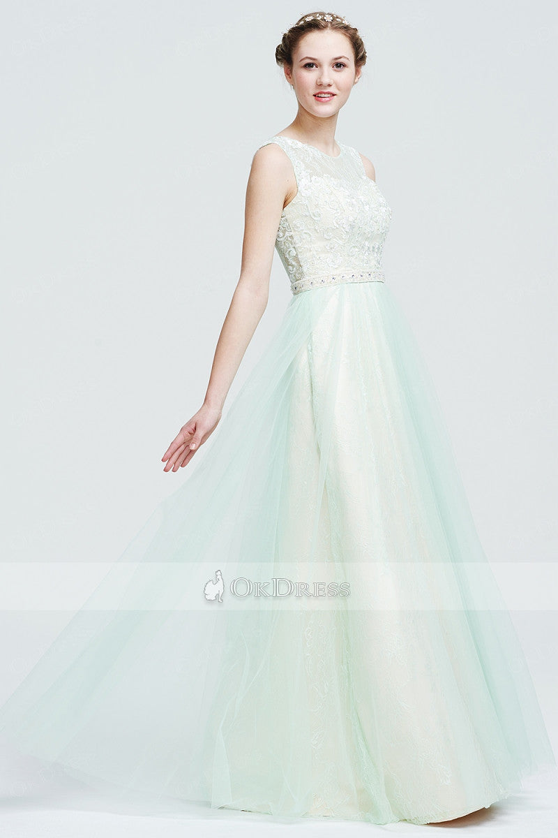 Pretty Lace A-line/Princess Tulle Long Prom Dresses 2019
