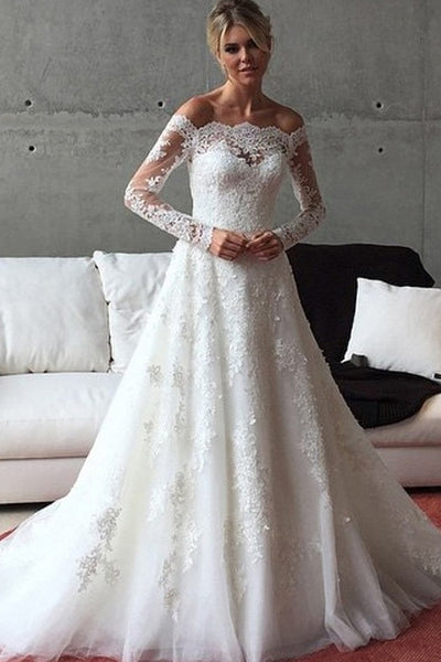 Ivory Fantastic Applique Tulle Off The Shoulder Buttons Wedding Dresses