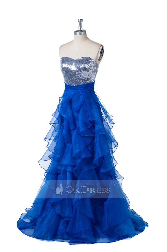 Strapless Sweetheart Layers Tulle Prom Dresses