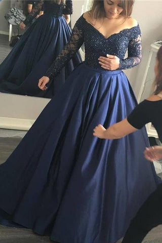 Dignified Long Sleeves Princess Natural Off The Shoulder Satin Prom Dresses