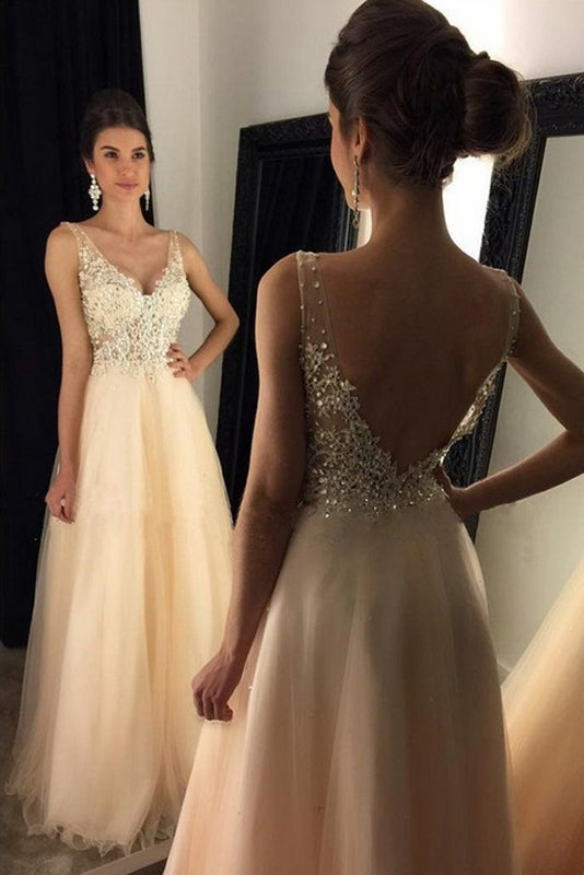 Champagne Faddish Tulle A-line Sleeveless Zipper Appliques Lace Prom Dresses