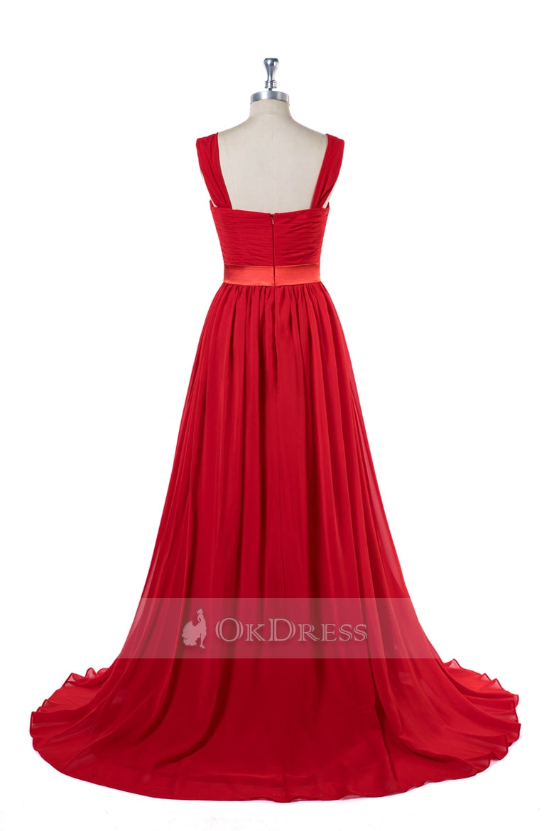 Shoulder Straps A-Line Chiffon Bridesmaid Dresses