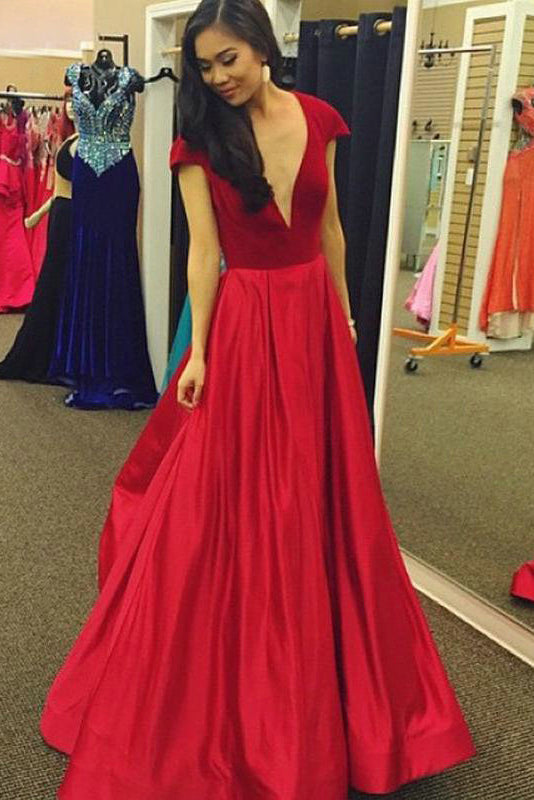 Astonishing V-neck A-line Natural Prom Dresses